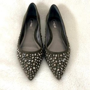 Guess Studded Dark Green Pointed Flats 7M